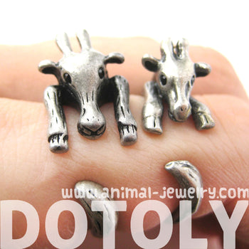 Large Giraffe Animal Wrap Around Ring in Silver - Sizes 4 to 9 Available | DOTOLY