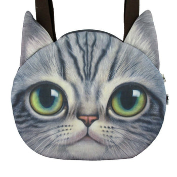 Large Grey Tabby Cat Face Shaped Shopper Tote Shoulder Bag | Gifts for Cat Lovers | DOTOLY
