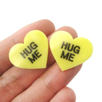 Large Hug Me Candy Heart Sweethearts Shaped Laser Cut Stud Earrings in Yellow | DOTOLY
