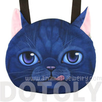Large Kitty Cat Face Shaped Shopper Tote Shoulder Bag in Blue | Gifts for Cat Lovers | DOTOLY