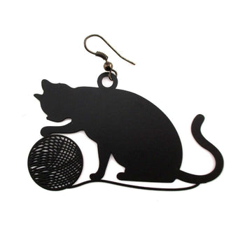 Large Kitty Cat Playing with a Ball of Yarn Silhouette Shaped Dangle Earrings in Black | DOTOLY