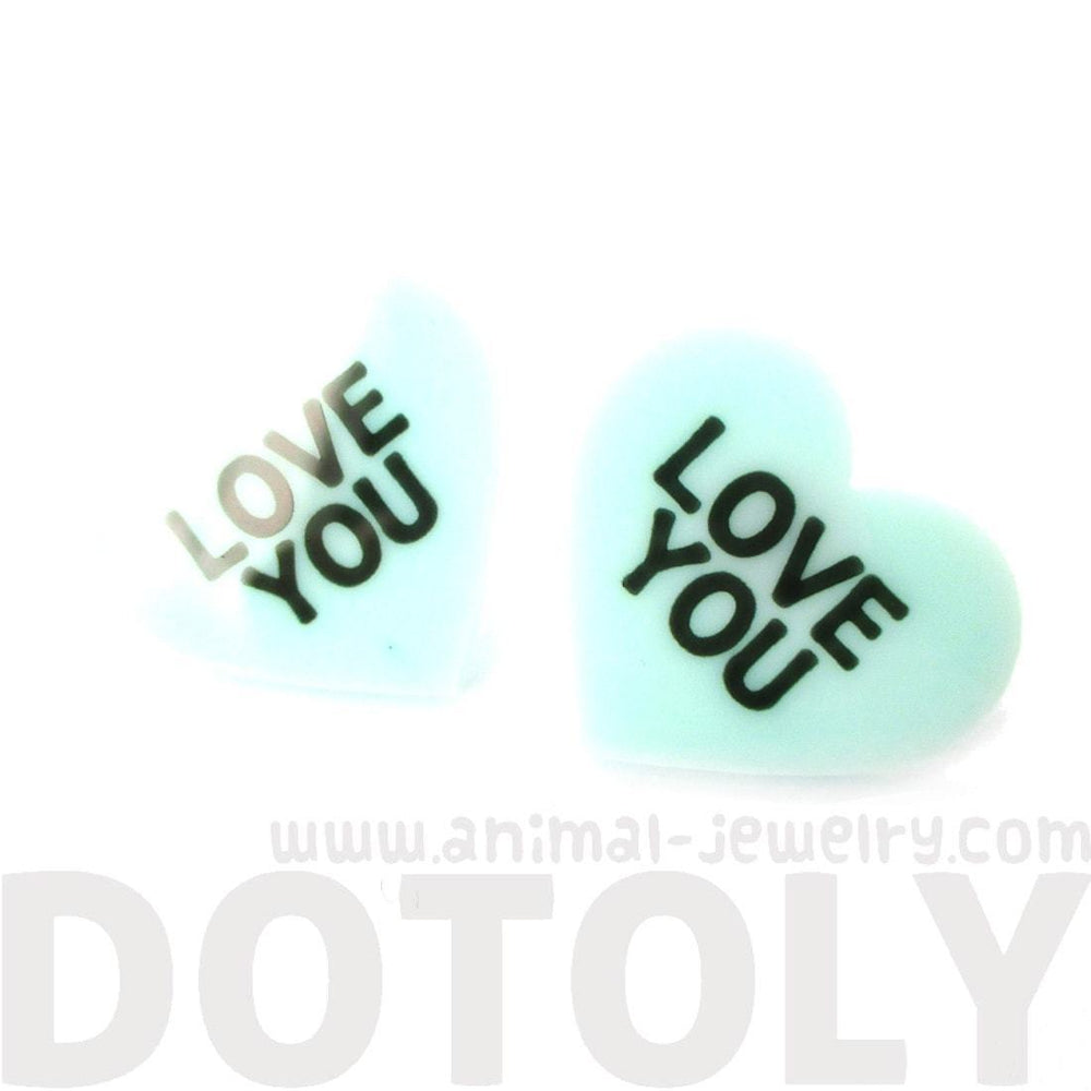 Large Love You Candy Heart Sweethearts Shaped Laser Cut Stud Earrings in Mint | DOTOLY