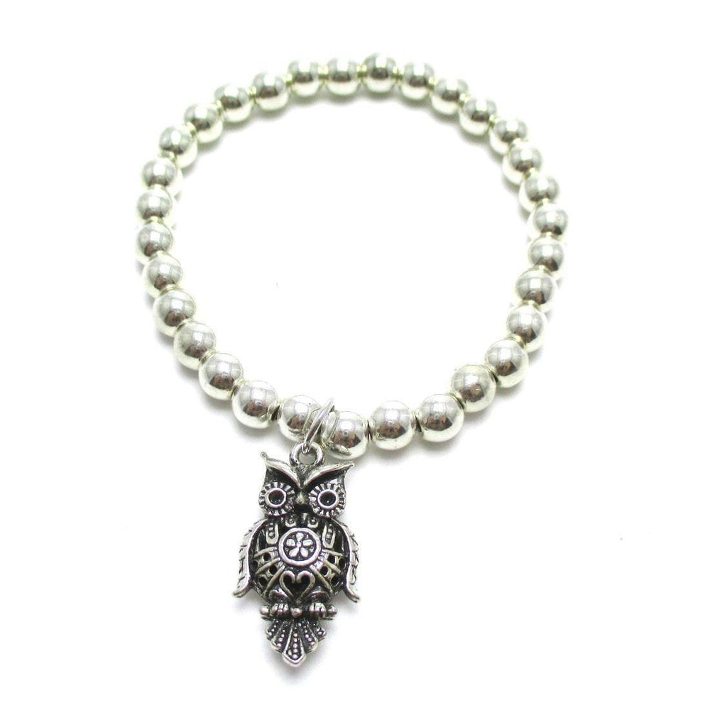 Large Owl Bird Shaped Charm Animal Themed Stretchy Bracelet in Silver | DOTOLY