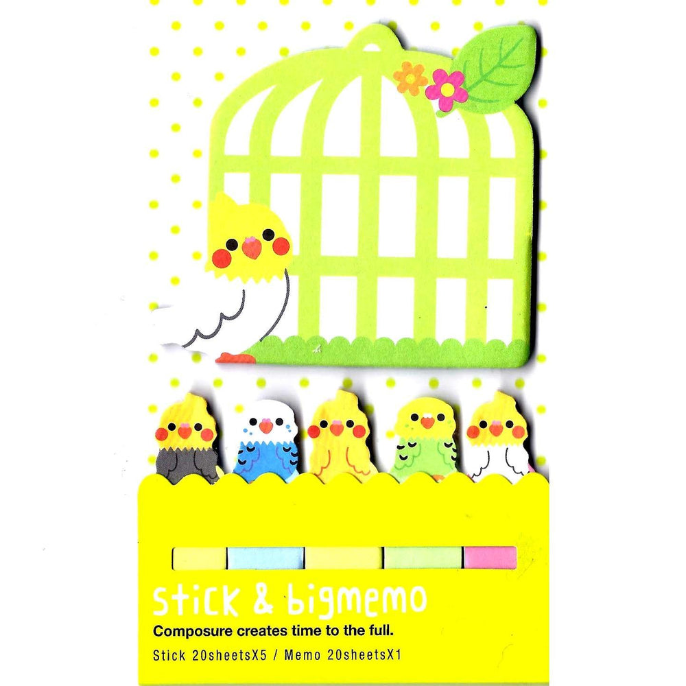 Large Parakeet Bird Shaped Animal Themed Memo Post-it Index Sticky Pad Bookmark Tabs | DOTOLY