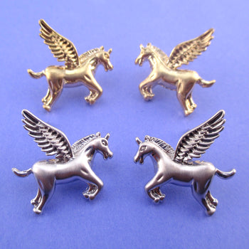 Large Pegasus Unicorn Shaped Stud Earrings in Silver or Gold | DOTOLY