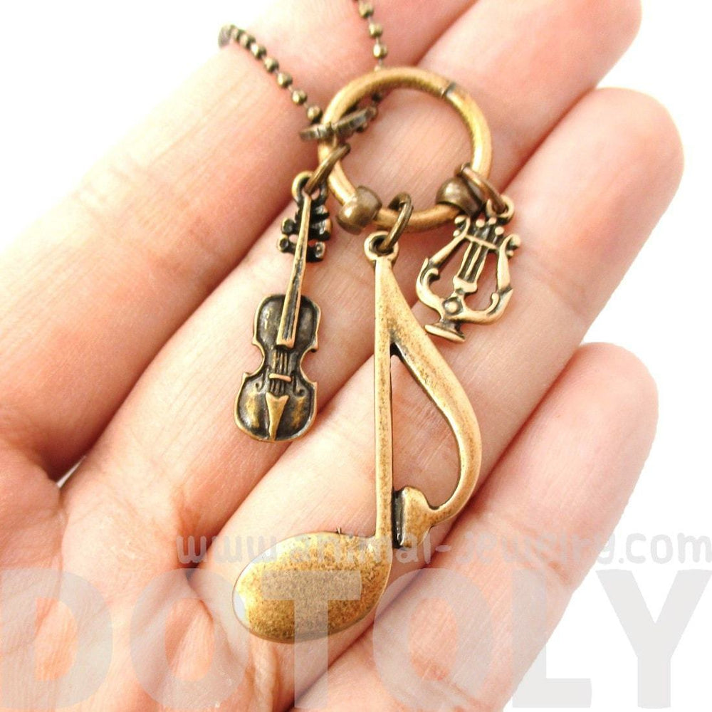 Large Quaver Note Violin and Musical Notes Shaped Charm Necklace in Bronze | DOTOLY