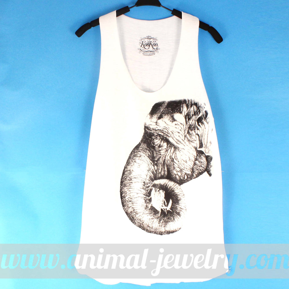 Large Realistic Elephant Animal Print Graphic Tank Top Tee in White | DOTOLY