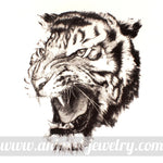 Large Realistic Tiger Animal Print Graphic Tank Top Tee in White | DOTOLY