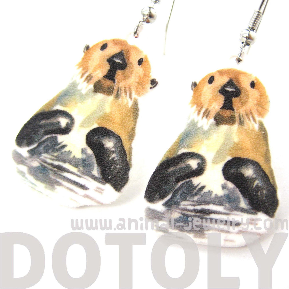 Large Sea Otter Beaver Watercolor Animal Dangle Earrings | Handmade Shrink Plastic | DOTOLY