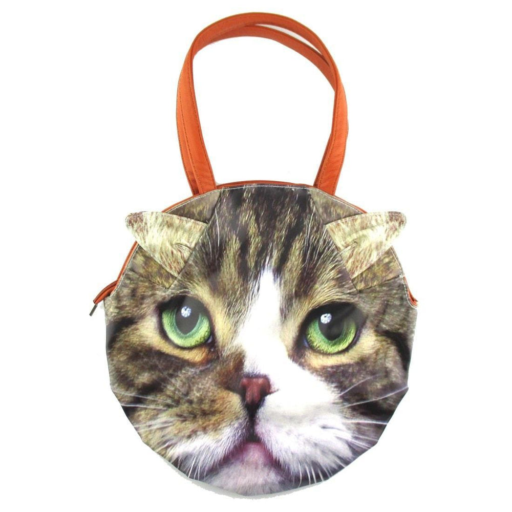 Large Tabby Cat Face Shaped Shoulder Bag | Gifts for Cat Lovers | DOTOLY