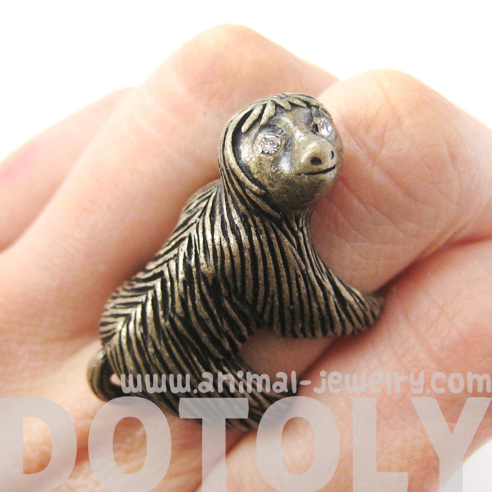 Large Three Toed Sloth Shaped Animal Wrap Ring in Brass | US Sizes 4 to 9 | DOTOLY