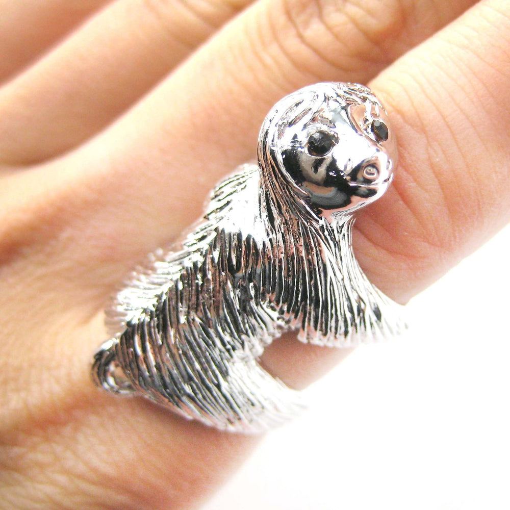 Large Three Toed Sloth Shaped Animal Wrap Ring in Shiny Silver | US Sizes 4 to 9 | DOTOLY