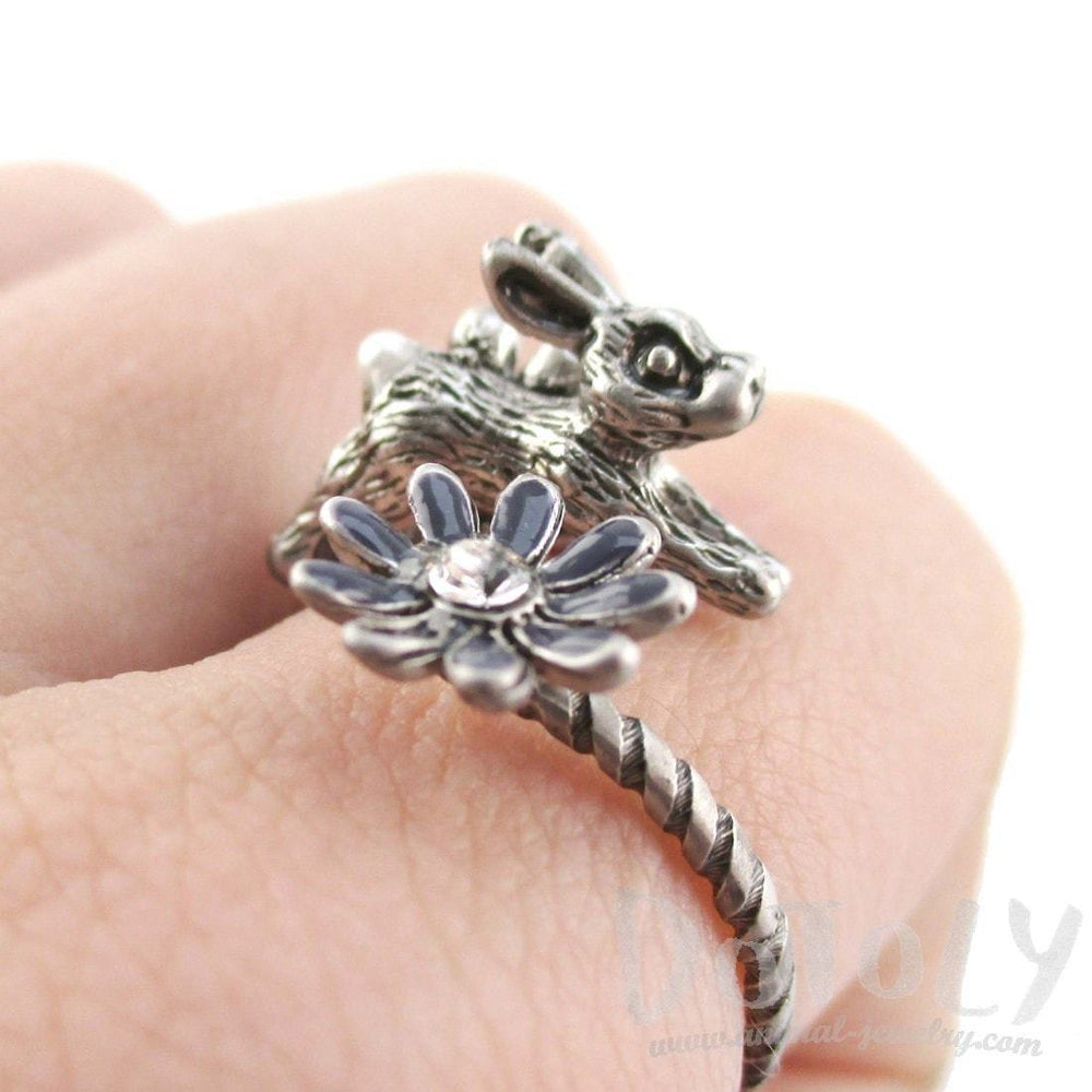 Leaping Bunny Rabbit and Flower Wrap Around Adjustable Ring in Silver | DOTOLY