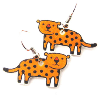 Leopard Cat Animal Illustration Dangle Earrings | Handmade Shrink Plastic | DOTOLY