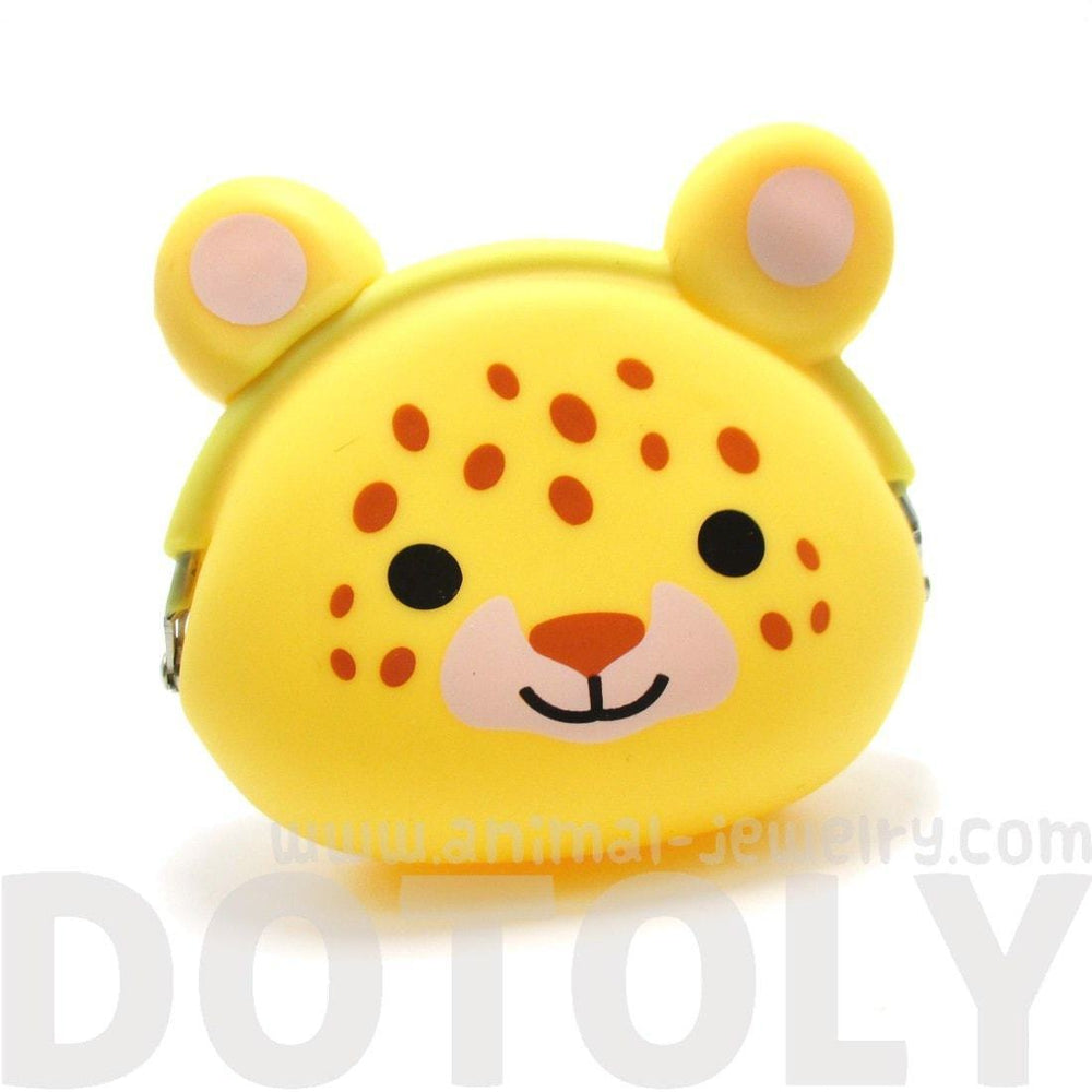 Leopard Cheetah Cat Face Shaped Animal Friends Silicone Clasp Coin Purse Pouch | DOTOLY