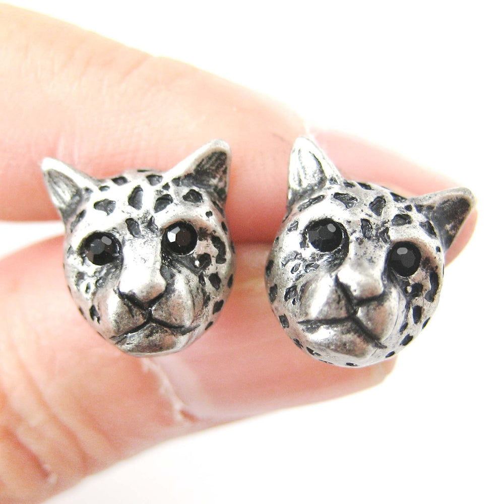 Leopard Cheetah Realistic Animal Stud Earrings in Silver | Animal Jewelry | DOTOLY