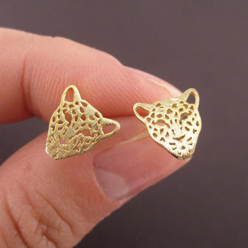 Leopard Jaguar Face Dye Cut Shaped Allergy Free Stud Earrings in Gold