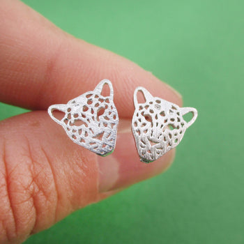 Leopard Jaguar Dye Cut Shaped Allergy Free Stud Earrings in Silver
