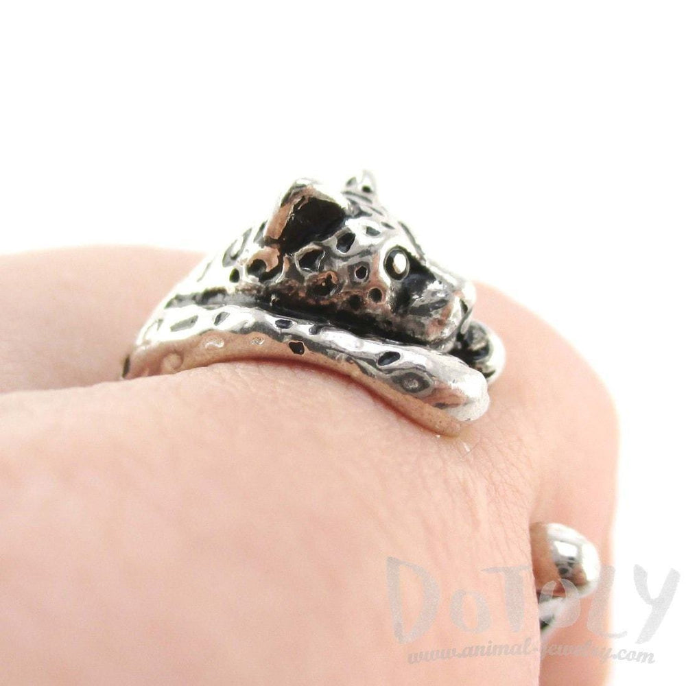 Leopard Jaguar Shaped Animal Wrap Around Ring in 925 Sterling Silver | US Sizes 3 to 8 | DOTOLY