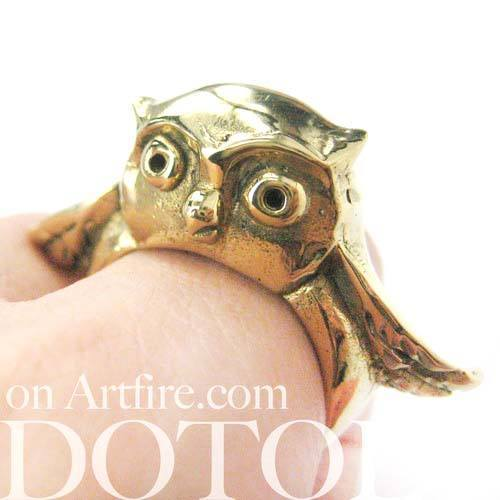 Adorable Owl Bird 3D Animal Ring in Brass | Limited Edition Animal Jewelry | DOTOLY