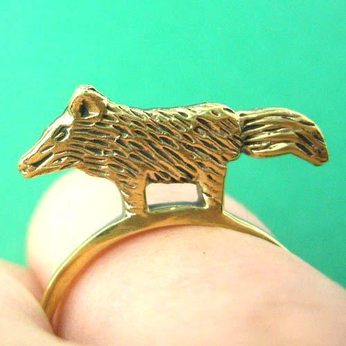 Wolf Fox Animal Ring in Brass | Limited Edition Animal Jewelry | DOTOLY