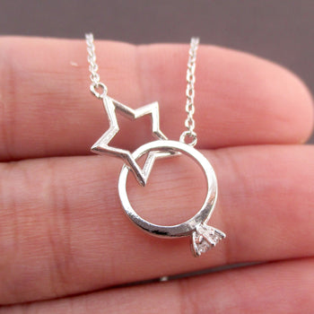 Linked Diamond Ring Interlocking Star Infinity Ring Pendant Necklace