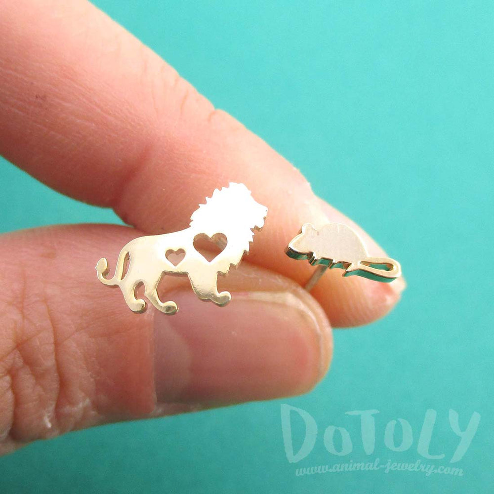 Lion and Mouse Silhouette Shaped Stud Earrings in Gold | DOTOLY