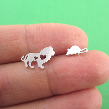 Lion and Mouse Silhouette Shaped Stud Earrings in Silver | DOTOLY