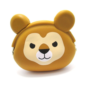 Lion Face Shaped Animal Friends Silicone Clasp Coin Purse Pouch | DOTOLY