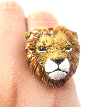 Lion Head Shaped Porcelain Ceramic Adjustable Animal Ring | Handmade | DOTOLY