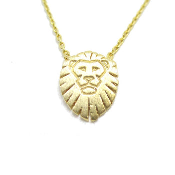 Lion King Shaped Animal Charm Necklace in Gold | Animal Jewelry | DOTOLY