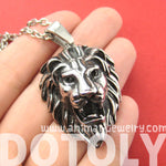 Lion Realistic Animal Pendant Necklace in Silver for Men and Women | DOTOLY