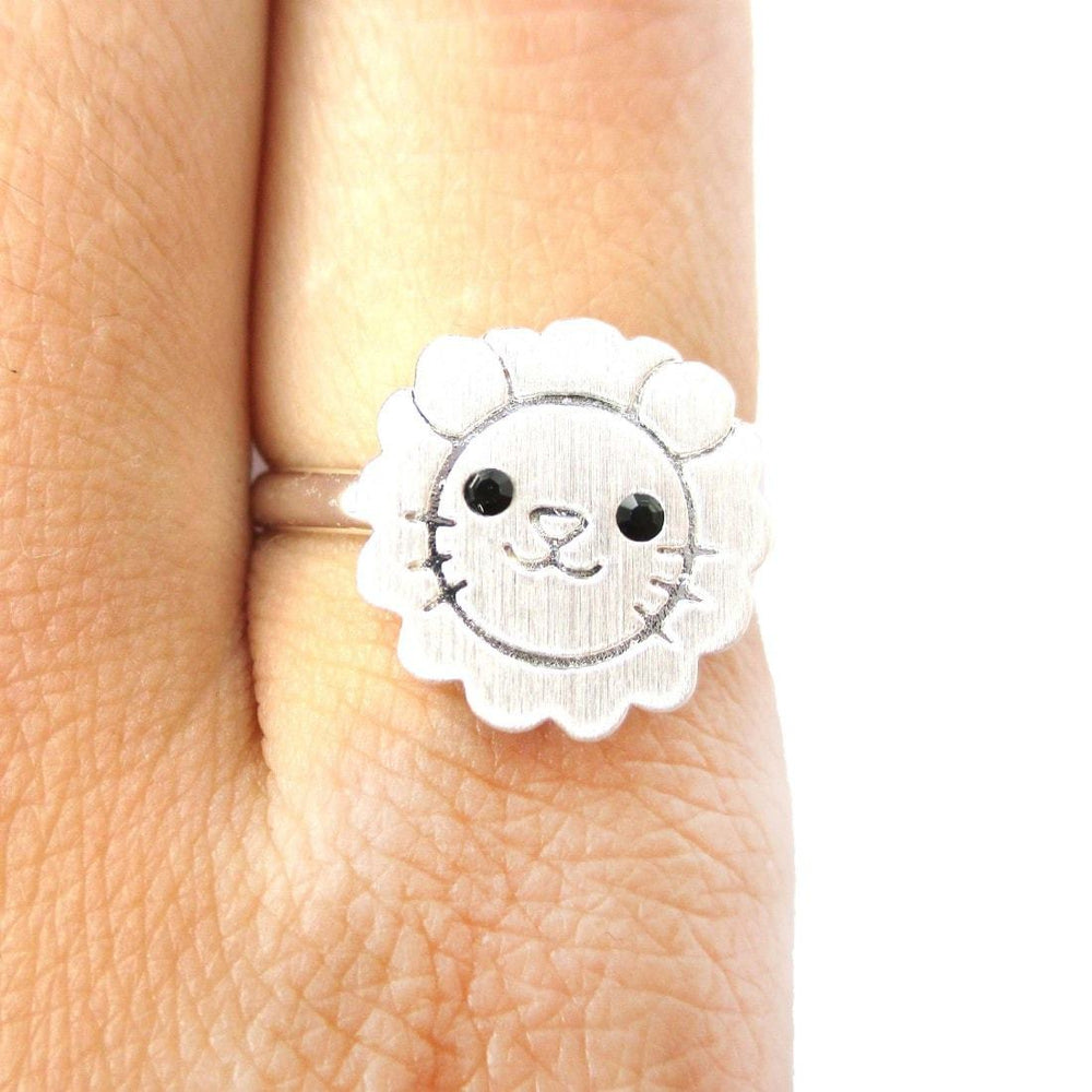 Lion Shaped Adorable Animal Inspired Adjustable Ring in Silver | DOTOLY | DOTOLY