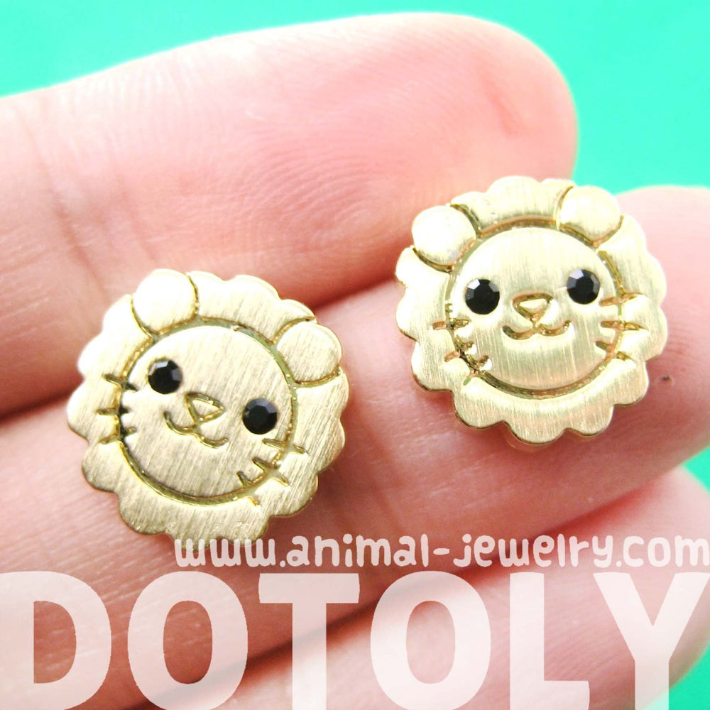 Lion Shaped Adorable Animal Stud Earrings in Gold with Allergy Free Posts | DOTOLY