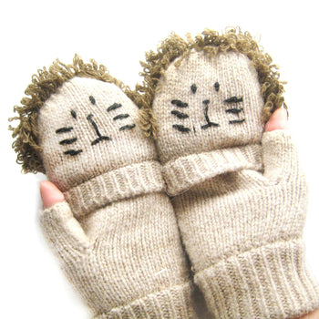 Lion Shaped Animal Themed Wool Knit Fingerless Popover Mitten Gloves for Women | DOTOLY