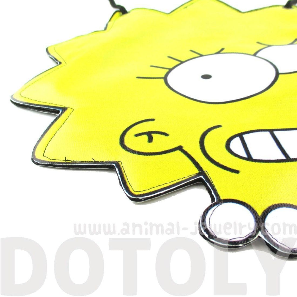 Lisa Simpson Shaped Photo Print Vinyl Cross Body Shoulder Bag | DOTOLY | DOTOLY