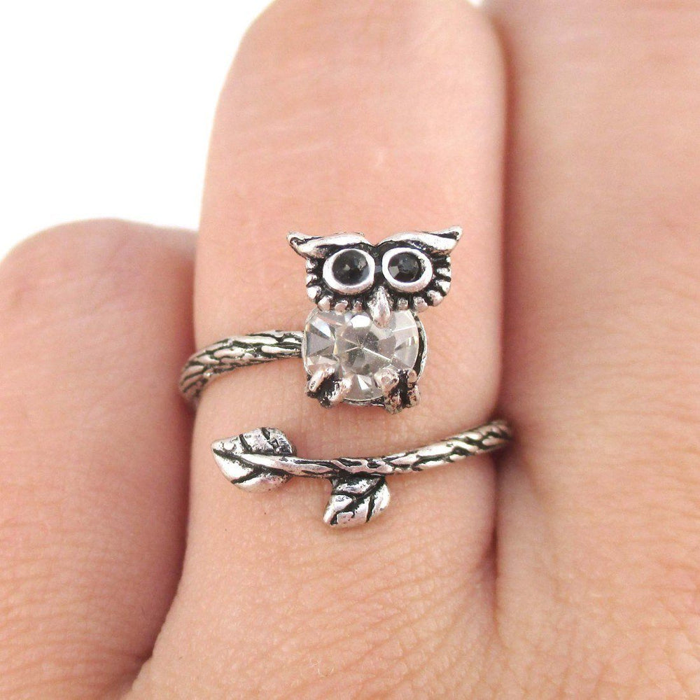 Little Baby Owl on A Branch Shaped Animal Ring in Silver | DOTOLY