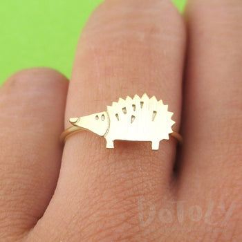 Little Hedgehog Shaped Adjustable Animal Ring in Gold | DOTOLY