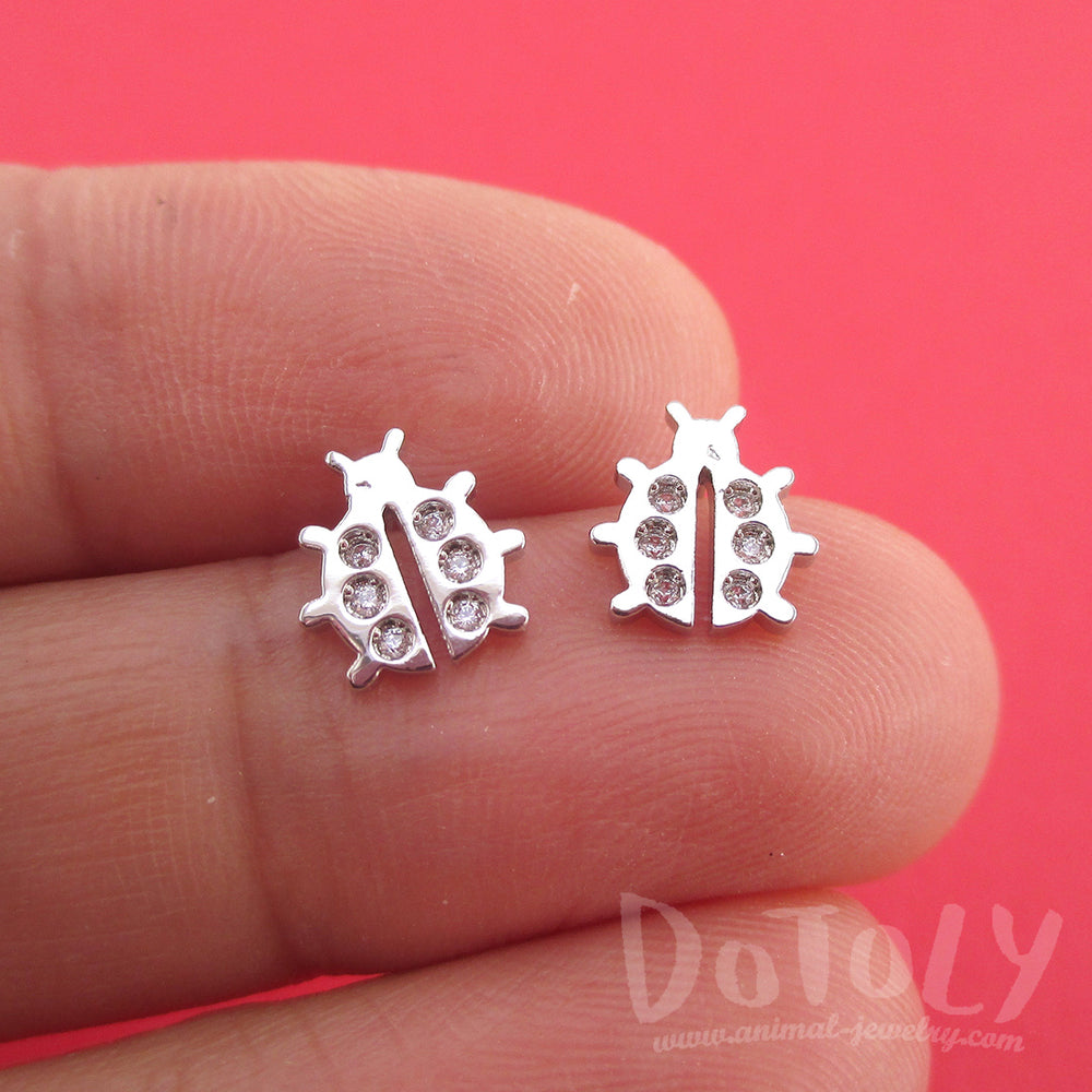 Little Ladybug Insect Shaped Rhinestone Stud Earrings in Silver