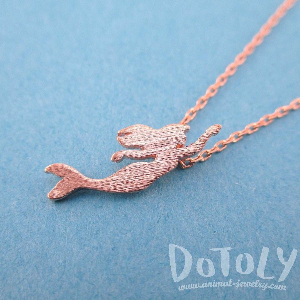 Little Mermaid Silhouette Shaped Pendant Necklace in Rose Gold | DOTOLY | DOTOLY