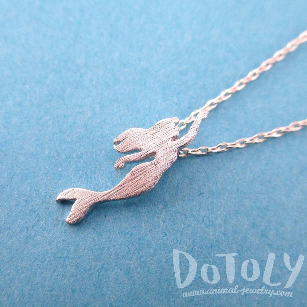 Little Mermaid Silhouette Shaped Pendant Necklace in Silver | DOTOLY | DOTOLY