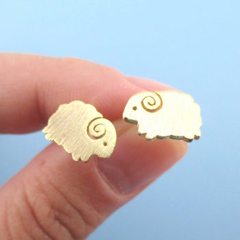 Little Mountain Goat Ram Sheep Shaped Stud Earrings in Gold | DOTOLY