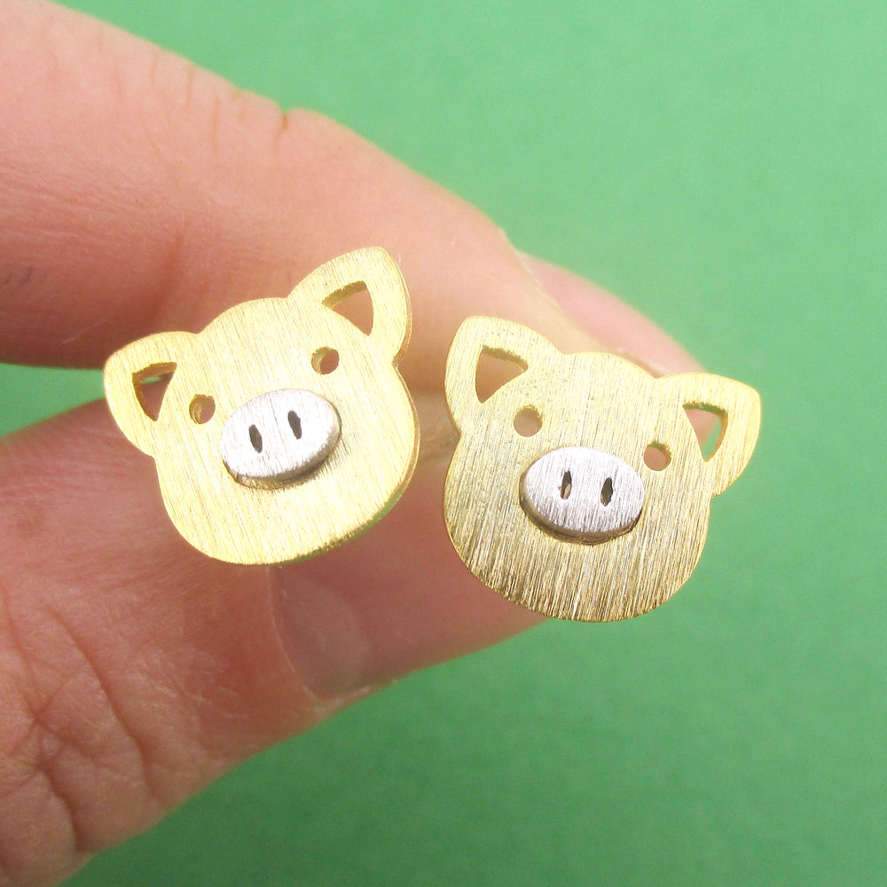 Little Piggy Pig Face Shaped Allergy Free Stud Earrings | DOTOLY