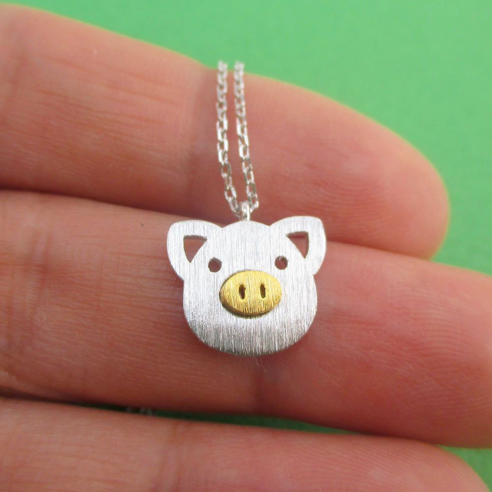 Little Piggy Pig Face Shaped Charm Necklace in Silver or Gold | DOTOLY