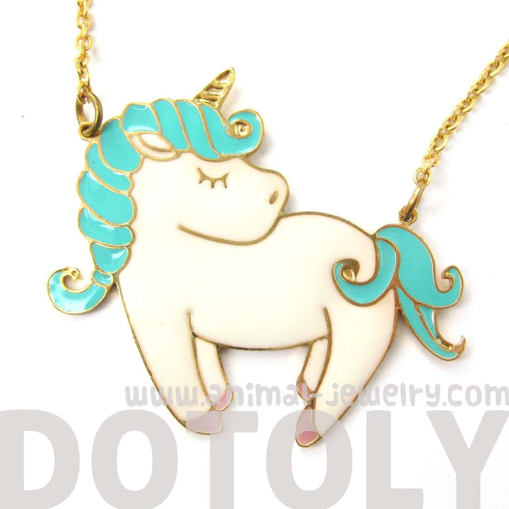 Little Pony Horse Unicorn Shaped Animal Pendant Necklace in White and Turquoise | Limited Edition | DOTOLY