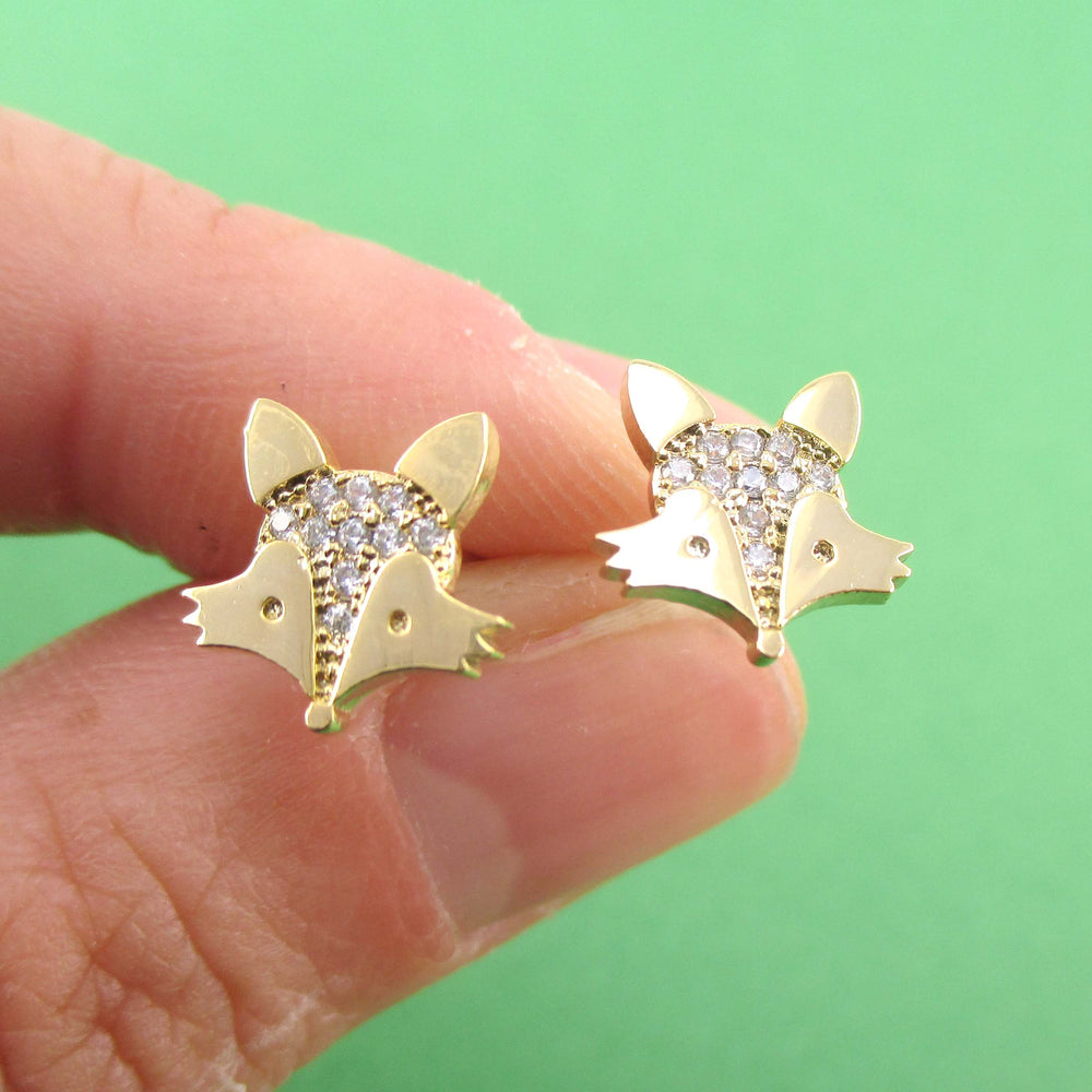 Little Red Fox Face Shaped Rhinestone Stud Earrings in Gold | DOTOLY