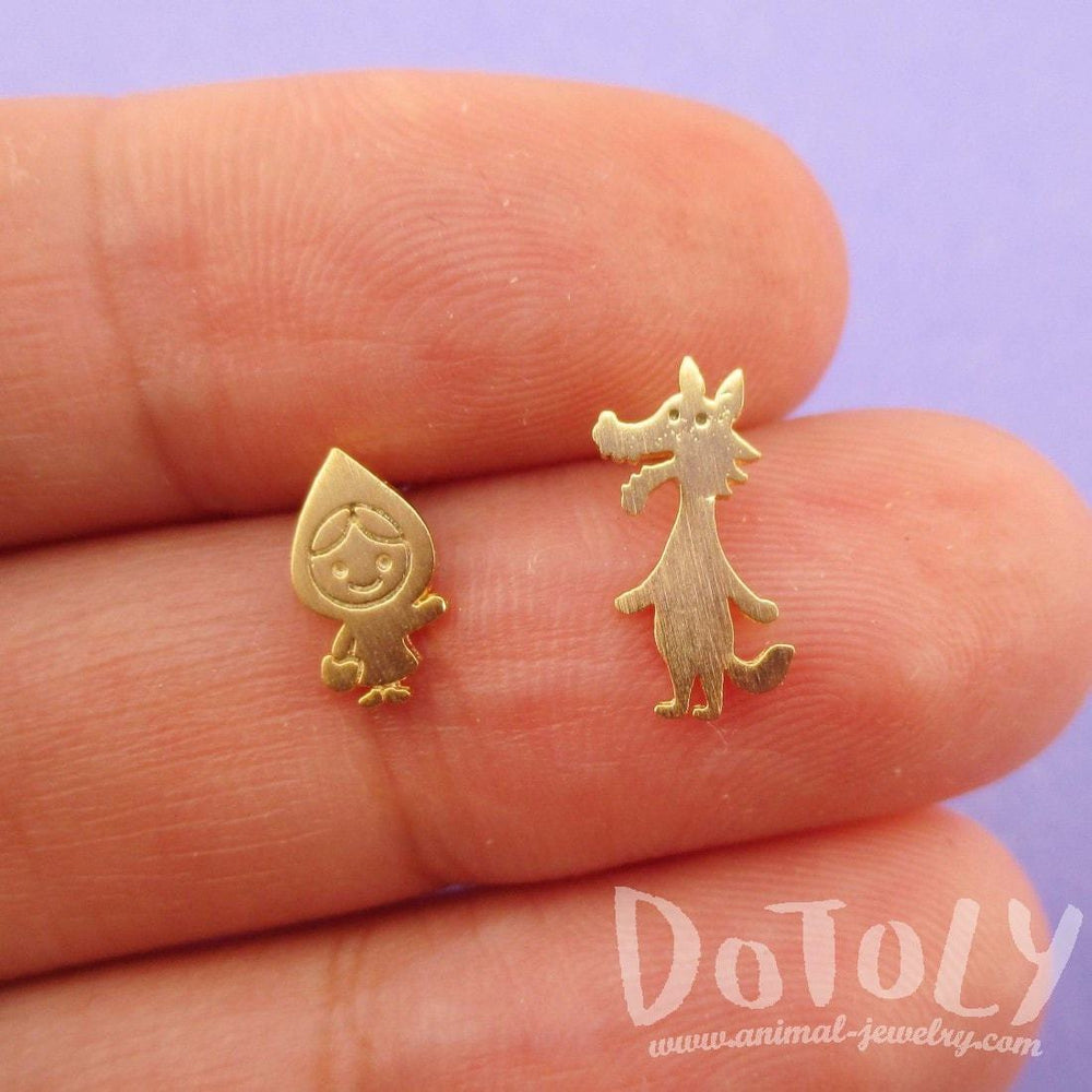Little Red Riding Hood and Wolf Shaped Stud Earrings in Gold | DOTOLY | DOTOLY
