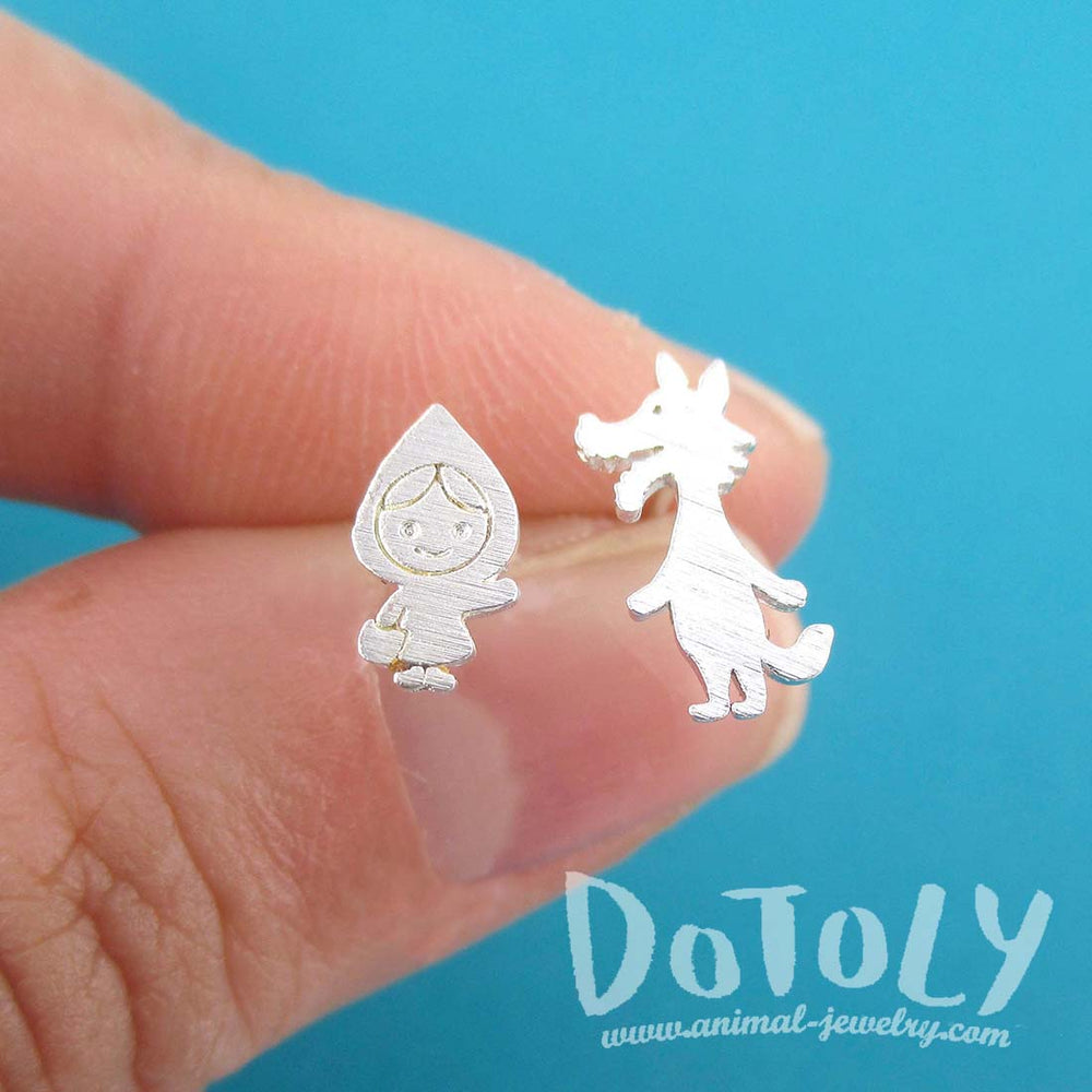 Little Red Riding Hood and Wolf Shaped Stud Earrings in Silver