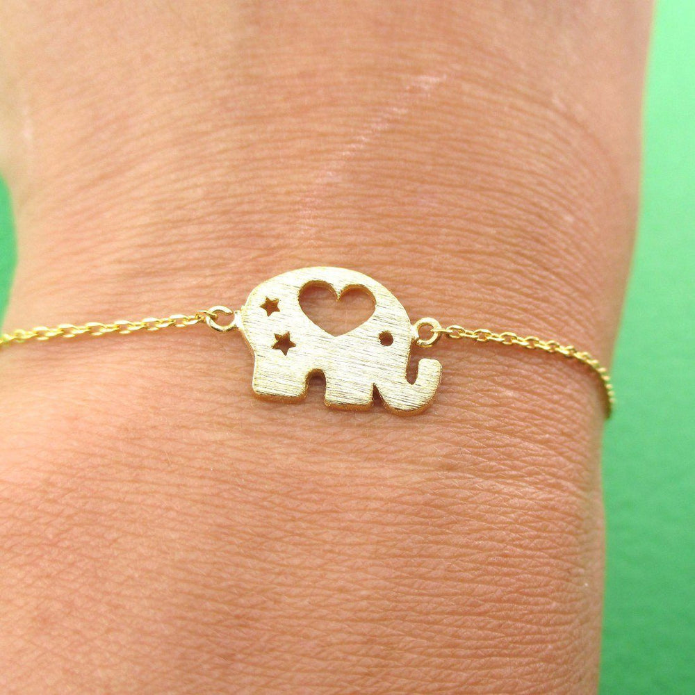 Little Round Elephant Shaped Charm Bracelet in Gold | DOTOLY