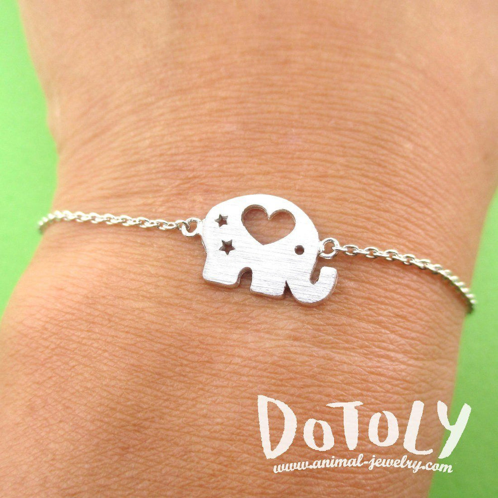 Little Round Elephant Shaped Charm Bracelet in Silver | DOTOLY